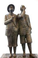 de schilders Jaap en Willem Dooijewaard, brons, h. 70 cm.